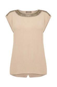 Embellished Top - sleeve style: capped; pattern: plain; style: t-shirt; predominant colour: blush; occasions: evening; length: standard; fibres: viscose/rayon - 100%; fit: body skimming; neckline: crew; sleeve length: short sleeve; pattern type: fabric; texture group: jersey - stretchy/drapey; embellishment: beading; season: s/s 2016; wardrobe: event; embellishment location: bust