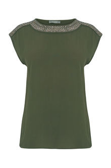 Embellished Top - sleeve style: capped; pattern: plain; style: t-shirt; predominant colour: khaki; occasions: evening; length: standard; fibres: viscose/rayon - 100%; fit: body skimming; neckline: crew; sleeve length: short sleeve; pattern type: fabric; texture group: jersey - stretchy/drapey; embellishment: embroidered; season: s/s 2016; wardrobe: event