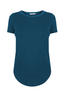 The Multitasking T Shirt - pattern: plain; style: t-shirt; predominant colour: teal; occasions: casual; length: standard; fibres: viscose/rayon - 100%; fit: body skimming; neckline: crew; sleeve length: short sleeve; sleeve style: standard; pattern type: fabric; texture group: jersey - stretchy/drapey; season: s/s 2016; wardrobe: highlight