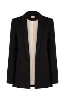 The Boyfriend Jacket - pattern: plain; style: single breasted blazer; collar: shawl/waterfall; predominant colour: black; occasions: work; length: standard; fit: tailored/fitted; fibres: polyester/polyamide - mix; sleeve length: long sleeve; sleeve style: standard; collar break: medium; pattern type: fabric; texture group: woven light midweight; season: s/s 2016; wardrobe: investment