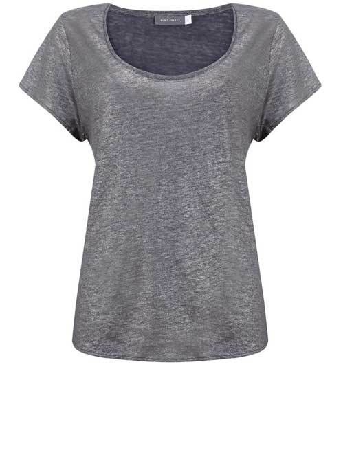 Mercury Shimmer Slouch Tee - neckline: round neck; pattern: plain; style: t-shirt; predominant colour: charcoal; occasions: casual; length: standard; fibres: linen - 100%; fit: body skimming; sleeve length: short sleeve; sleeve style: standard; pattern type: fabric; texture group: other - light to midweight; season: s/s 2016; wardrobe: basic