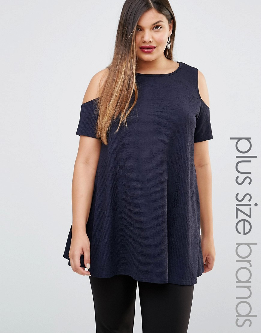 Plus Swing Dress With Cold Shoulder Navy - pattern: plain; length: below the bottom; style: tunic; predominant colour: navy; occasions: casual; fibres: polyester/polyamide - stretch; fit: body skimming; neckline: crew; shoulder detail: cut out shoulder; sleeve length: short sleeve; sleeve style: standard; pattern type: fabric; texture group: jersey - stretchy/drapey; season: s/s 2016; wardrobe: highlight