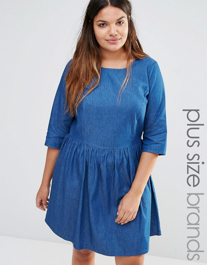 Chambray Skater Dress Blue - pattern: plain; predominant colour: denim; occasions: casual; length: just above the knee; fit: fitted at waist & bust; style: fit & flare; fibres: cotton - 100%; neckline: crew; sleeve length: 3/4 length; sleeve style: standard; texture group: denim; pattern type: fabric; season: s/s 2016; wardrobe: basic