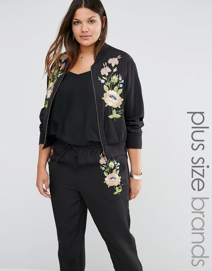 Floral Embroidered Bomber Black - collar: round collar/collarless; style: bomber; predominant colour: black; occasions: casual, creative work; length: standard; fit: straight cut (boxy); fibres: polyester/polyamide - 100%; sleeve length: long sleeve; sleeve style: standard; collar break: low/open; pattern type: fabric; pattern size: light/subtle; pattern: patterned/print; texture group: woven light midweight; embellishment: embroidered; season: s/s 2016; wardrobe: highlight