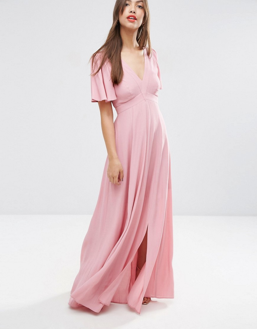 Pretty Maxi Dress With Ruffle Sleeve Nude - neckline: low v-neck; pattern: plain; style: maxi dress; predominant colour: pink; occasions: evening; length: floor length; fit: body skimming; fibres: viscose/rayon - 100%; hip detail: slits at hip; sleeve length: half sleeve; sleeve style: standard; pattern type: fabric; texture group: other - light to midweight; season: s/s 2016; wardrobe: event