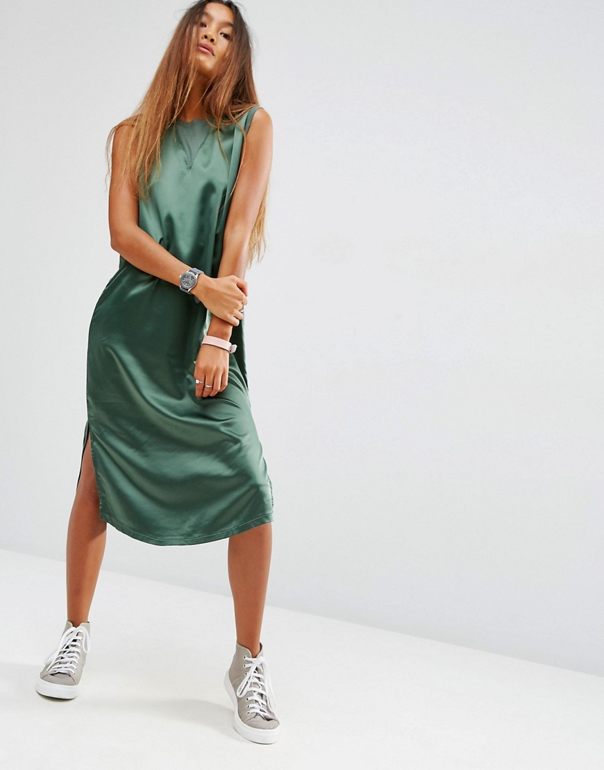 Satin Front Sleeveless T Shirt Midi Dress Green - style: shift; length: below the knee; pattern: plain; sleeve style: sleeveless; predominant colour: emerald green; occasions: casual; fit: body skimming; fibres: polyester/polyamide - stretch; neckline: crew; sleeve length: sleeveless; texture group: structured shiny - satin/tafetta/silk etc.; pattern type: fabric; season: s/s 2016; wardrobe: highlight