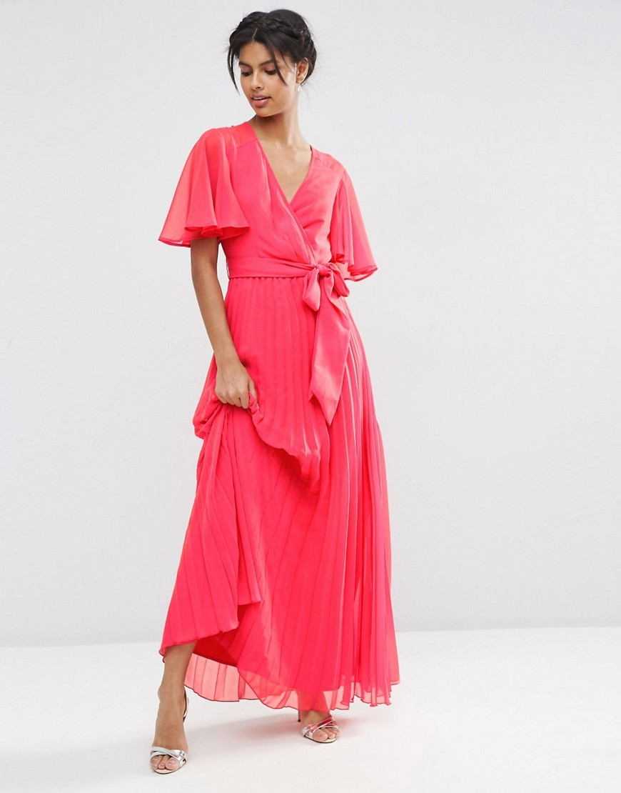 Pleated Maxi Dress Red - neckline: v-neck; sleeve style: angel/waterfall; pattern: plain; style: maxi dress; length: ankle length; predominant colour: hot pink; occasions: evening, occasion; fit: fitted at waist & bust; fibres: polyester/polyamide - 100%; sleeve length: half sleeve; texture group: sheer fabrics/chiffon/organza etc.; pattern type: fabric; season: s/s 2016; wardrobe: event