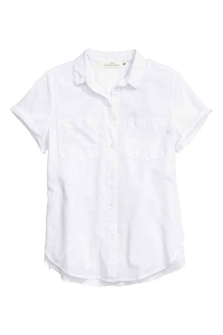 Short Sleeved Cotton Shirt - neckline: shirt collar/peter pan/zip with opening; pattern: plain; style: shirt; predominant colour: white; occasions: casual; length: standard; fibres: cotton - 100%; fit: body skimming; sleeve length: short sleeve; sleeve style: standard; texture group: cotton feel fabrics; pattern type: fabric; season: s/s 2016; wardrobe: basic