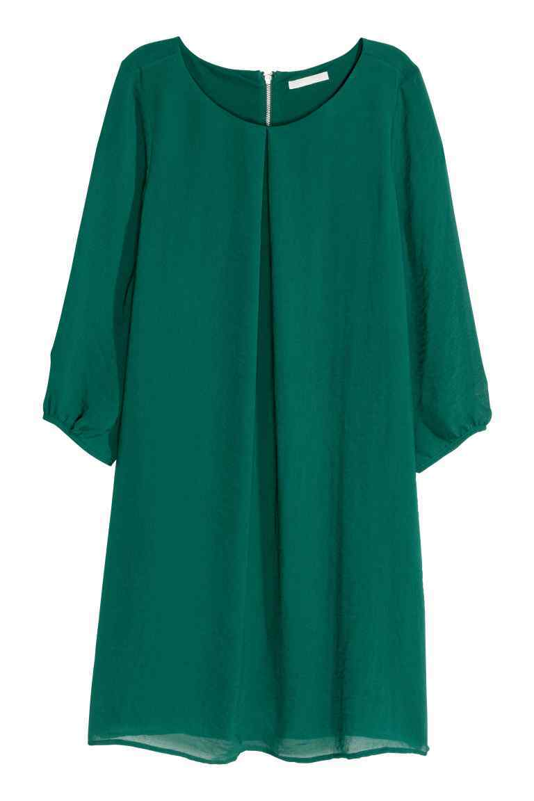 Chiffon Dress - style: shift; length: mid thigh; neckline: round neck; pattern: plain; predominant colour: dark green; occasions: evening; fit: body skimming; fibres: polyester/polyamide - 100%; sleeve length: 3/4 length; sleeve style: standard; texture group: sheer fabrics/chiffon/organza etc.; pattern type: fabric; season: s/s 2016; wardrobe: event