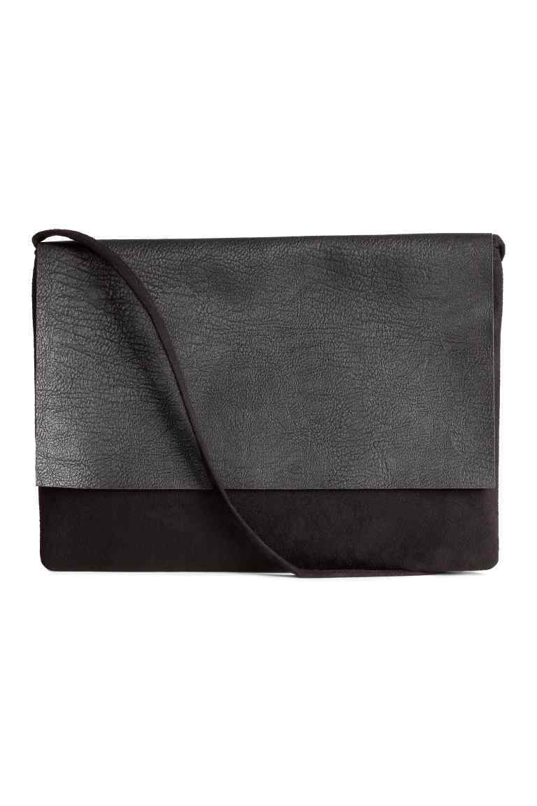 Small Shoulder Bag - predominant colour: charcoal; secondary colour: black; occasions: casual; type of pattern: standard; style: shoulder; length: shoulder (tucks under arm); size: standard; material: fabric; pattern: plain; finish: plain; multicoloured: multicoloured; season: s/s 2016; wardrobe: investment
