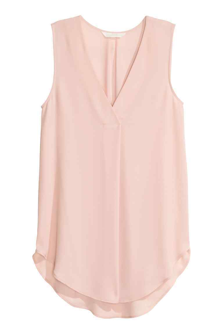 Crêpe Blouse - neckline: v-neck; pattern: plain; sleeve style: sleeveless; length: below the bottom; style: blouse; predominant colour: blush; occasions: casual; fibres: polyester/polyamide - 100%; fit: body skimming; sleeve length: sleeveless; texture group: crepes; pattern type: fabric; season: s/s 2016; wardrobe: basic