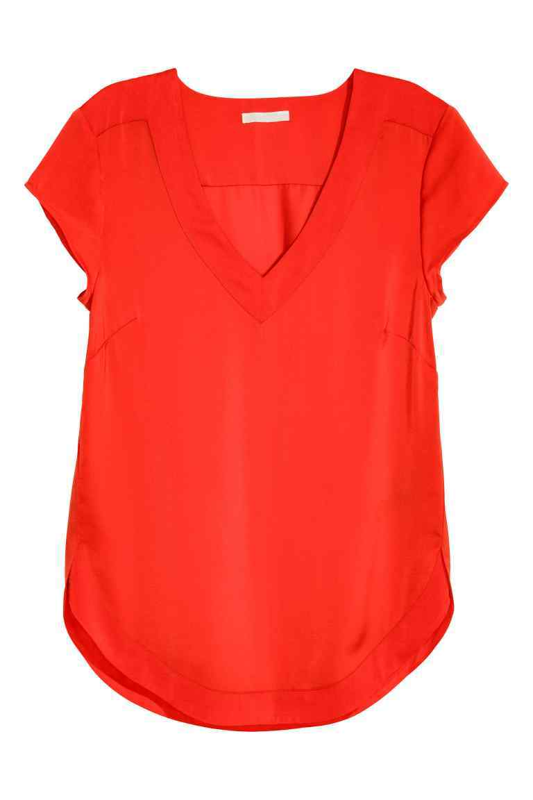 V Neck Satin Blouse - neckline: v-neck; pattern: plain; predominant colour: true red; occasions: casual; length: standard; style: top; fibres: polyester/polyamide - 100%; fit: body skimming; sleeve length: short sleeve; sleeve style: standard; texture group: structured shiny - satin/tafetta/silk etc.; pattern type: fabric; season: s/s 2016; wardrobe: highlight