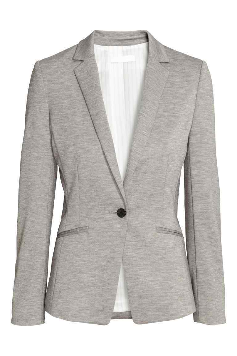 Jersey Jacket - style: single breasted blazer; fit: slim fit; collar: standard lapel/rever collar; predominant colour: light grey; occasions: casual; length: standard; fibres: polyester/polyamide - stretch; sleeve length: long sleeve; sleeve style: standard; collar break: medium; pattern type: fabric; pattern size: light/subtle; texture group: jersey - stretchy/drapey; pattern: marl; season: s/s 2016; wardrobe: basic