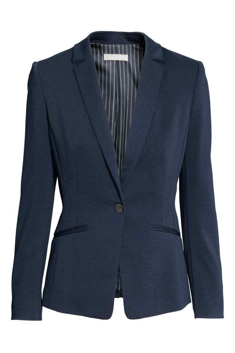 Jersey Jacket - pattern: plain; style: single breasted blazer; collar: standard lapel/rever collar; predominant colour: navy; occasions: work; length: standard; fit: tailored/fitted; fibres: polyester/polyamide - stretch; sleeve length: long sleeve; sleeve style: standard; collar break: medium; pattern type: fabric; texture group: jersey - stretchy/drapey; season: s/s 2016; wardrobe: investment