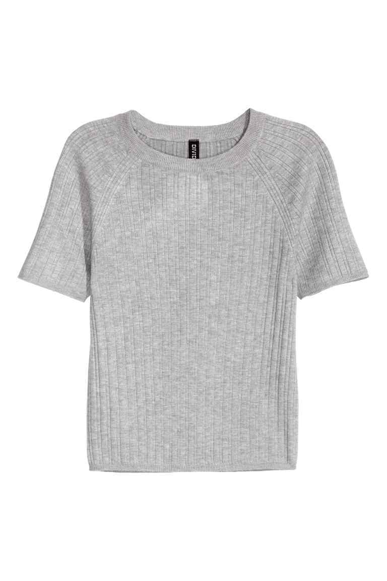 Rib Knit Short Sleeved Jumper - pattern: plain; style: standard; predominant colour: light grey; occasions: casual; length: standard; fit: slim fit; neckline: crew; sleeve length: short sleeve; sleeve style: standard; texture group: knits/crochet; pattern type: knitted - fine stitch; fibres: viscose/rayon - mix; season: s/s 2016