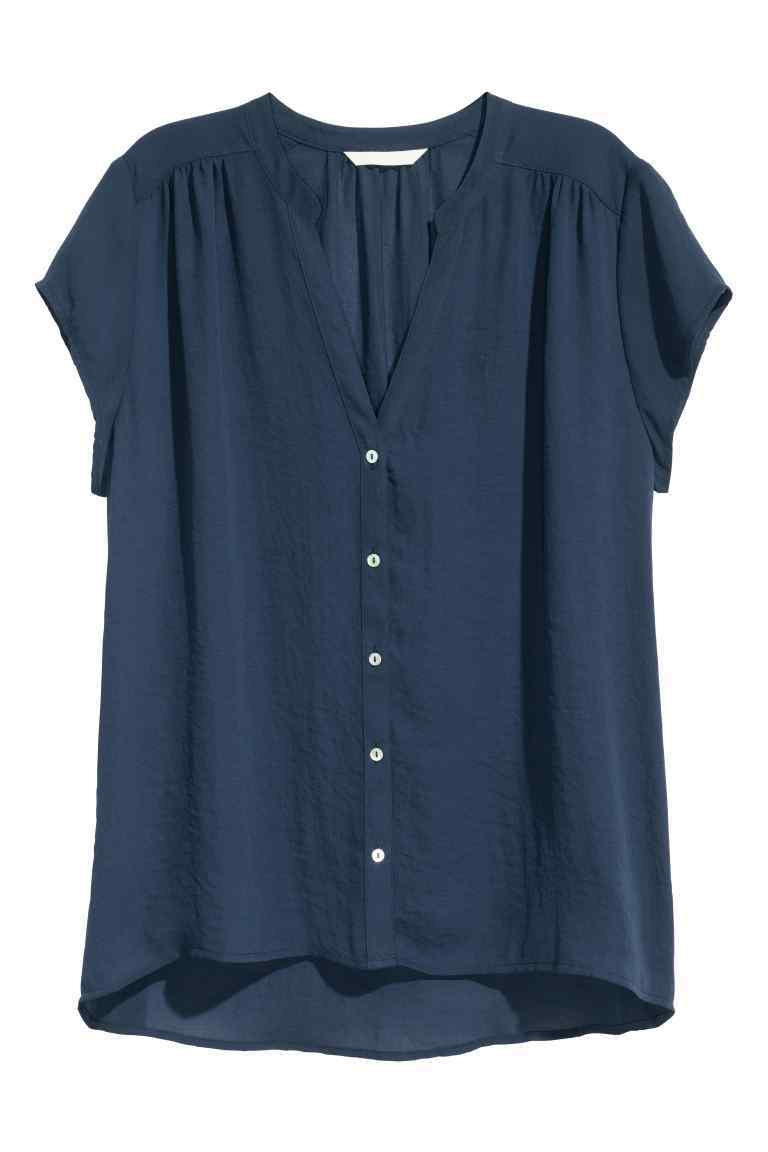 V Neck Blouse - pattern: plain; style: blouse; predominant colour: navy; occasions: casual; length: standard; neckline: collarstand & mandarin with v-neck; fibres: polyester/polyamide - 100%; fit: body skimming; sleeve length: short sleeve; sleeve style: standard; pattern type: fabric; texture group: other - light to midweight; season: s/s 2016; wardrobe: basic