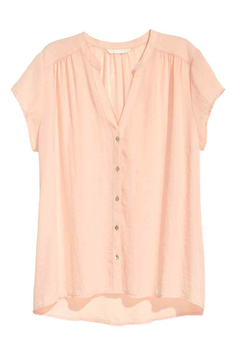 V Neck Blouse - sleeve style: capped; pattern: plain; style: blouse; predominant colour: blush; occasions: casual; length: standard; neckline: collarstand & mandarin with v-neck; fibres: polyester/polyamide - 100%; fit: body skimming; sleeve length: short sleeve; pattern type: fabric; texture group: other - light to midweight; season: s/s 2016; wardrobe: basic