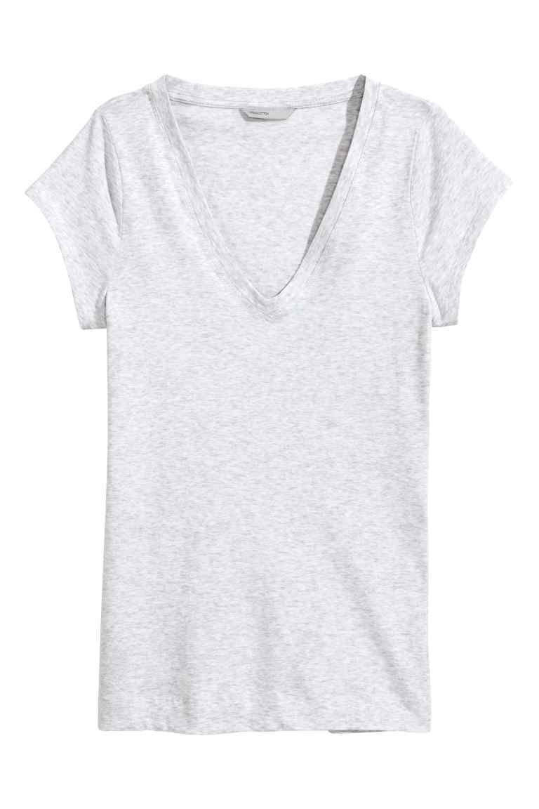 Top In Pima Cotton - neckline: v-neck; pattern: plain; style: t-shirt; predominant colour: light grey; occasions: casual; length: standard; fibres: cotton - 100%; fit: body skimming; sleeve length: short sleeve; sleeve style: standard; pattern type: fabric; texture group: jersey - stretchy/drapey; season: s/s 2016; wardrobe: basic