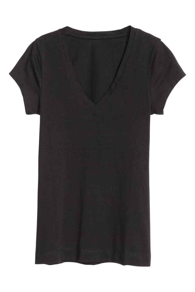 Top In Pima Cotton - neckline: v-neck; pattern: plain; style: t-shirt; predominant colour: black; occasions: casual; length: standard; fibres: cotton - 100%; fit: straight cut; sleeve length: short sleeve; sleeve style: standard; pattern type: fabric; texture group: jersey - stretchy/drapey; season: s/s 2016; wardrobe: basic