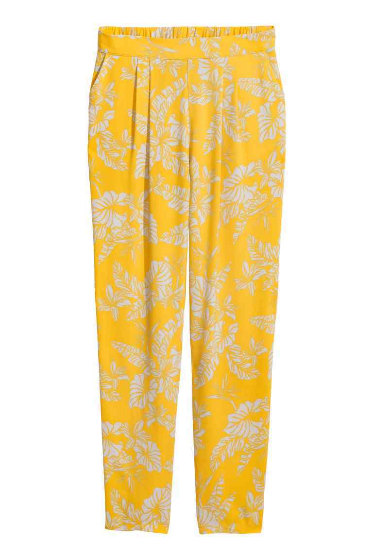 Trousers Loose Fit - length: standard; style: harem/slouch; waist: mid/regular rise; secondary colour: ivory/cream; predominant colour: yellow; occasions: casual; fibres: viscose/rayon - 100%; fit: tapered; pattern type: fabric; pattern: florals; texture group: other - light to midweight; pattern size: big & busy (bottom); multicoloured: multicoloured; season: s/s 2016; wardrobe: highlight