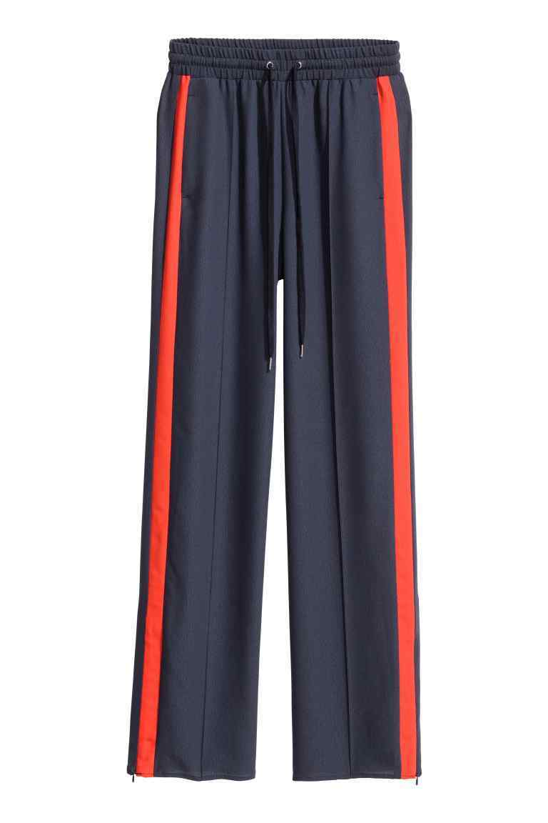 Wide Trousers - length: standard; pattern: vertical stripes; waist: mid/regular rise; secondary colour: true red; predominant colour: navy; occasions: casual; fibres: polyester/polyamide - 100%; texture group: crepes; fit: wide leg; pattern type: fabric; style: standard; multicoloured: multicoloured; season: s/s 2016; wardrobe: highlight
