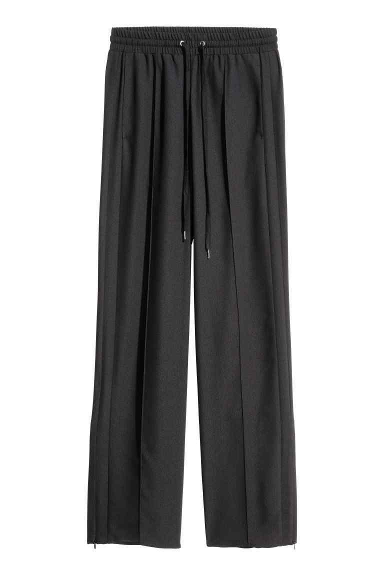 Wide Trousers - length: standard; pattern: plain; style: palazzo; waist detail: belted waist/tie at waist/drawstring; waist: mid/regular rise; predominant colour: black; occasions: casual; fibres: polyester/polyamide - 100%; texture group: crepes; fit: wide leg; pattern type: fabric; season: s/s 2016; wardrobe: basic