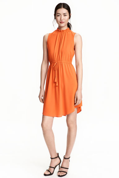 Crêpe Dress - pattern: plain; sleeve style: sleeveless; neckline: high neck; waist detail: belted waist/tie at waist/drawstring; predominant colour: bright orange; occasions: evening; length: just above the knee; fit: fitted at waist & bust; style: fit & flare; fibres: polyester/polyamide - stretch; sleeve length: sleeveless; texture group: crepes; pattern type: fabric; season: s/s 2016; wardrobe: event