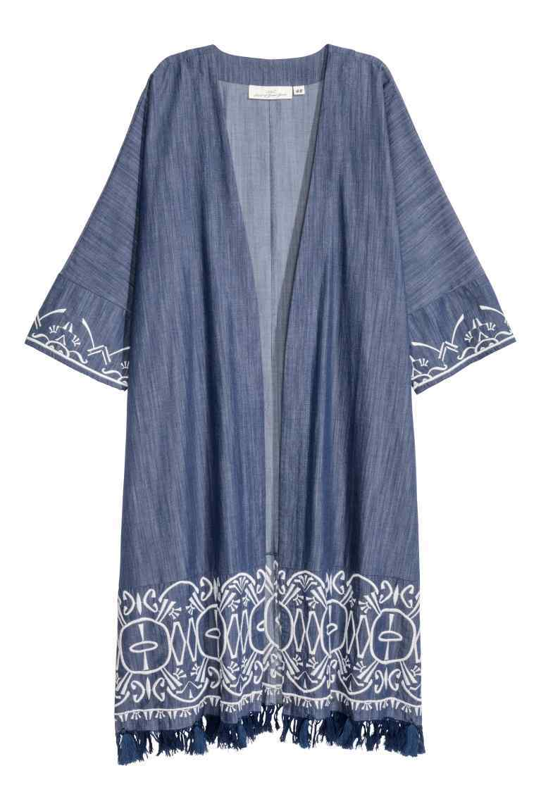 Embroidered Kimono - neckline: collarless open; style: open front; length: on the knee; secondary colour: white; predominant colour: denim; occasions: casual; fibres: cotton - 100%; fit: loose; sleeve length: short sleeve; sleeve style: standard; pattern type: fabric; pattern: patterned/print; texture group: woven light midweight; embellishment: embroidered; multicoloured: multicoloured; season: s/s 2016; wardrobe: highlight; embellishment location: hem, sleeve/cuff