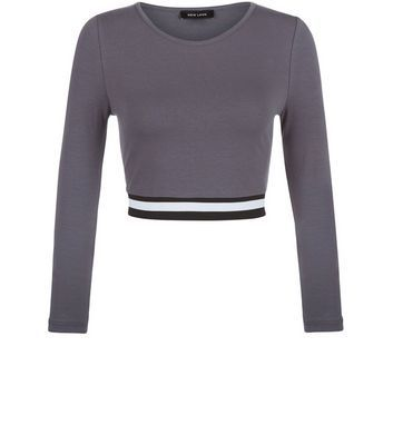 Dark Grey Elasticated Hem Long Sleeve Crop Top - pattern: plain; length: cropped; predominant colour: charcoal; occasions: casual; style: top; fibres: cotton - mix; fit: body skimming; neckline: crew; sleeve length: long sleeve; sleeve style: standard; pattern type: fabric; texture group: jersey - stretchy/drapey; season: s/s 2016