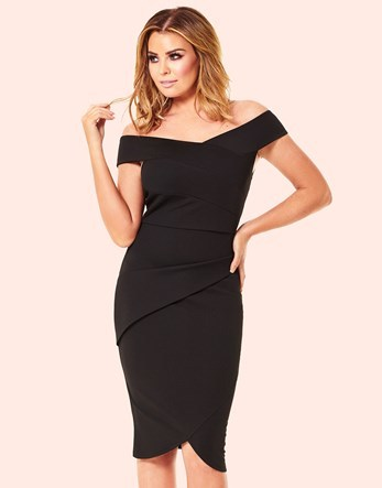 Bodycon Bardot Dress - neckline: off the shoulder; sleeve style: capped; fit: tight; pattern: plain; style: bodycon; predominant colour: black; occasions: evening; length: on the knee; fibres: viscose/rayon - stretch; sleeve length: short sleeve; texture group: jersey - clingy; pattern type: fabric; season: s/s 2016