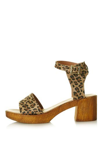 Dupe Heeled Sandal - predominant colour: camel; secondary colour: black; occasions: casual; material: fabric; heel height: mid; ankle detail: ankle strap; heel: block; toe: open toe/peeptoe; style: strappy; finish: plain; pattern: animal print; season: s/s 2016