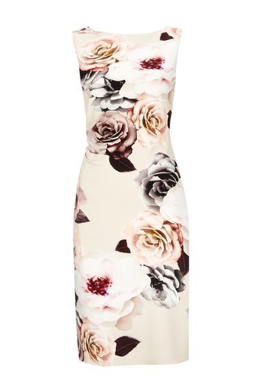 Rose Printed Rouche Side Dress - style: shift; fit: tailored/fitted; sleeve style: sleeveless; predominant colour: ivory/cream; secondary colour: mid grey; length: on the knee; fibres: polyester/polyamide - stretch; occasions: occasion; neckline: crew; sleeve length: sleeveless; pattern type: fabric; pattern size: standard; pattern: florals; texture group: other - light to midweight; multicoloured: multicoloured; season: s/s 2016; wardrobe: event