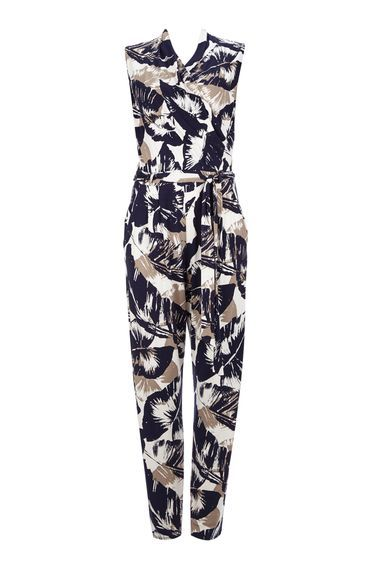 Palm Printed Jumpsuit - length: standard; neckline: v-neck; sleeve style: sleeveless; hip detail: draws attention to hips; waist detail: belted waist/tie at waist/drawstring; predominant colour: white; secondary colour: navy; occasions: evening; fit: body skimming; fibres: viscose/rayon - stretch; sleeve length: sleeveless; style: jumpsuit; pattern type: fabric; pattern size: big & busy; pattern: patterned/print; texture group: jersey - stretchy/drapey; multicoloured: multicoloured; season: s/s 2016; wardrobe: event