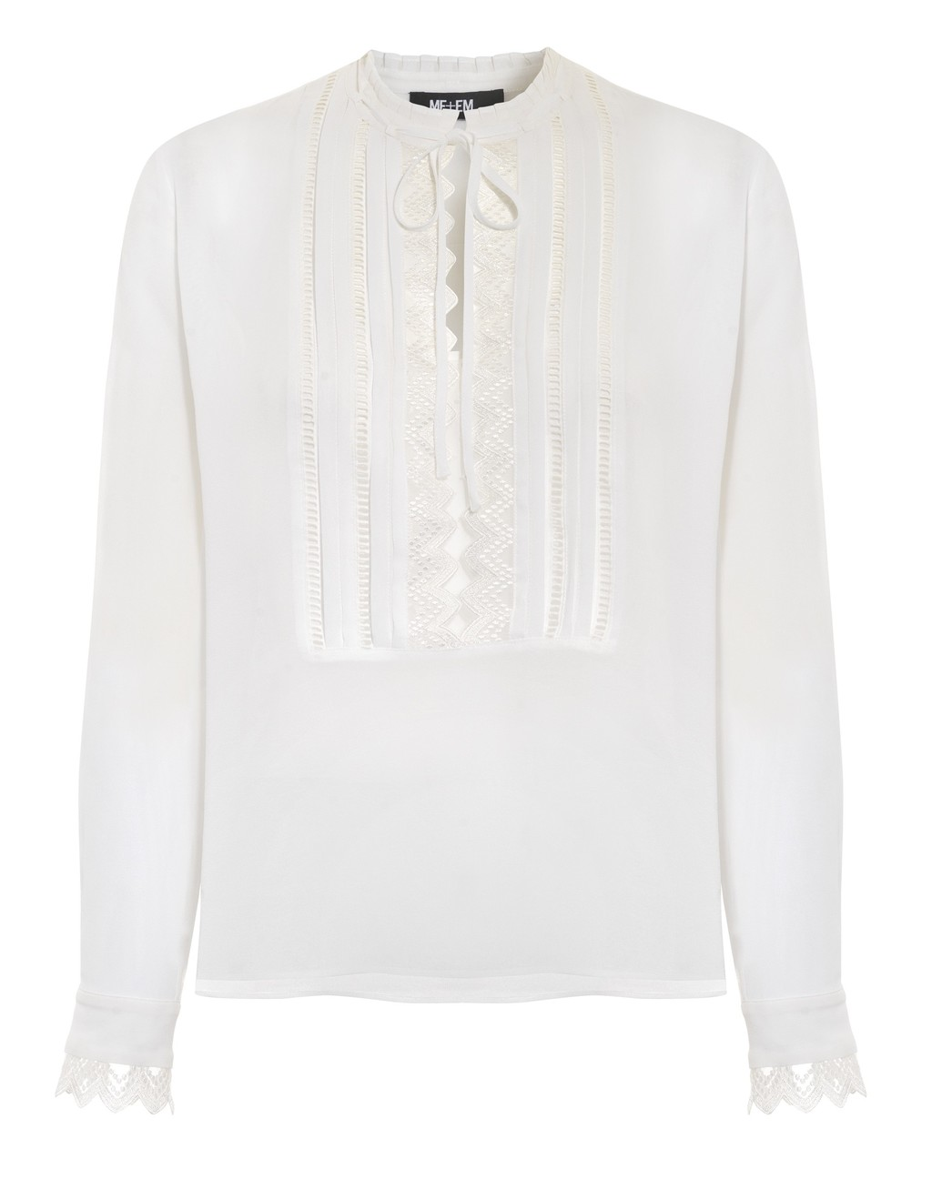 Lace Trim Silk Blouse - pattern: plain; style: blouse; bust detail: subtle bust detail; predominant colour: ivory/cream; occasions: casual, creative work; length: standard; neckline: collarstand; fibres: silk - mix; fit: body skimming; sleeve length: long sleeve; sleeve style: standard; texture group: silky - light; pattern type: fabric; embellishment: lace; season: s/s 2016; wardrobe: highlight