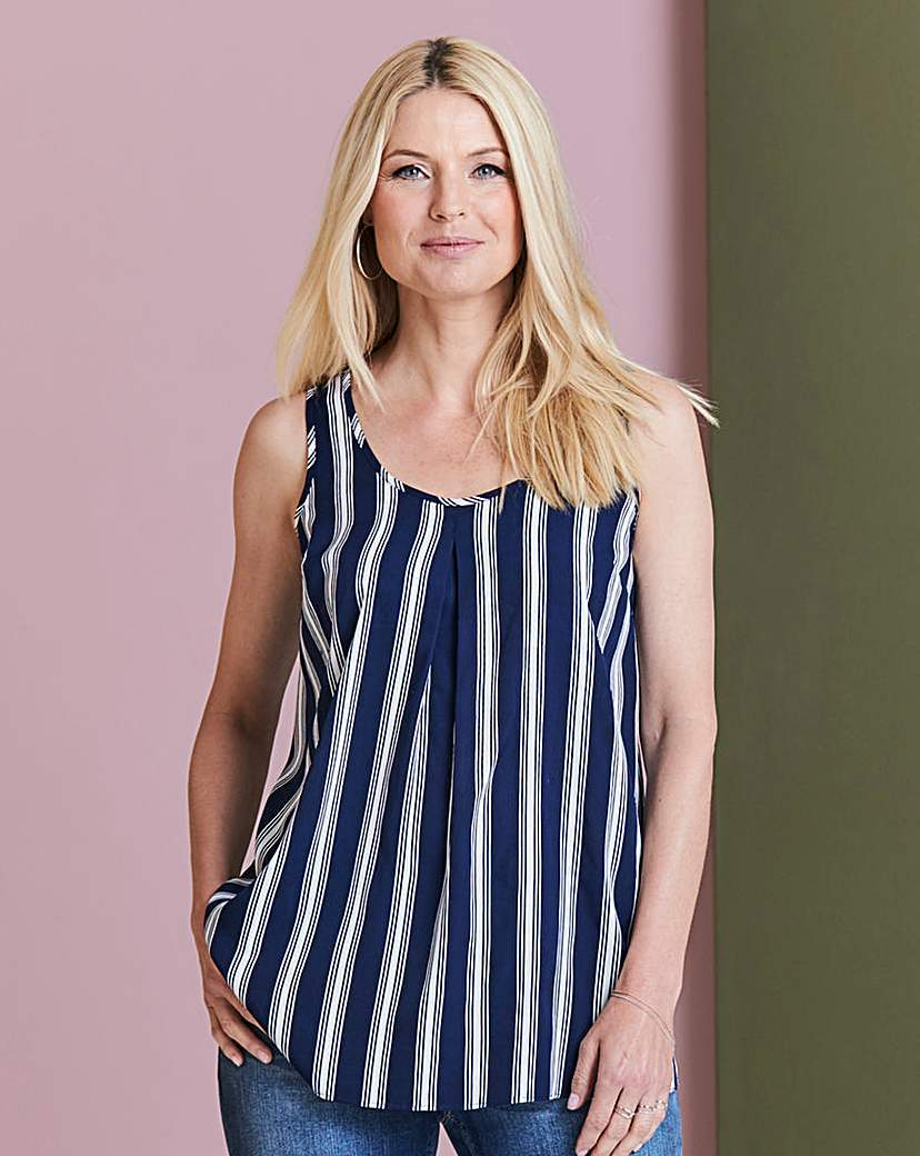 Navy Stripe Pleat Vest - neckline: low v-neck; pattern: vertical stripes; sleeve style: sleeveless; style: vest top; secondary colour: white; predominant colour: navy; occasions: casual; length: standard; fibres: polyester/polyamide - 100%; fit: body skimming; sleeve length: sleeveless; pattern type: fabric; texture group: other - light to midweight; multicoloured: multicoloured; season: s/s 2016; wardrobe: highlight