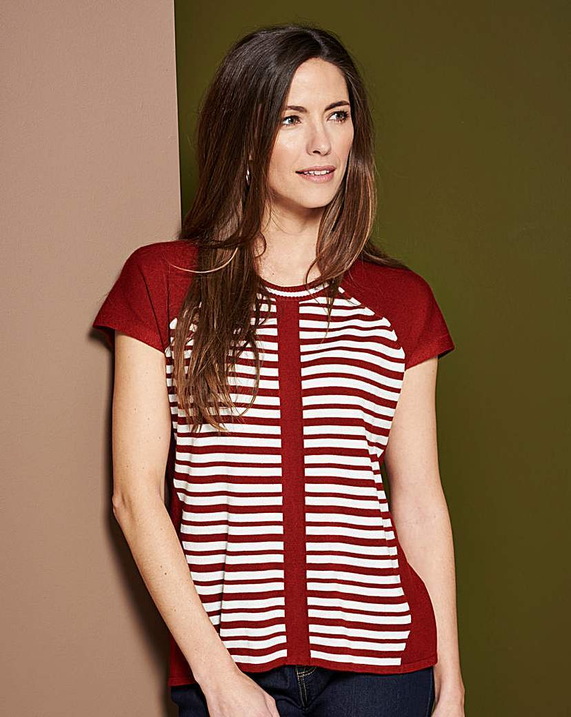 Stripe Boxy Jumper - neckline: round neck; sleeve style: raglan; pattern: horizontal stripes; style: standard; secondary colour: white; predominant colour: true red; occasions: casual, creative work; length: standard; fit: slim fit; sleeve length: short sleeve; texture group: knits/crochet; pattern type: knitted - fine stitch; fibres: viscose/rayon - mix; pattern size: big & busy (top); season: s/s 2016; wardrobe: highlight