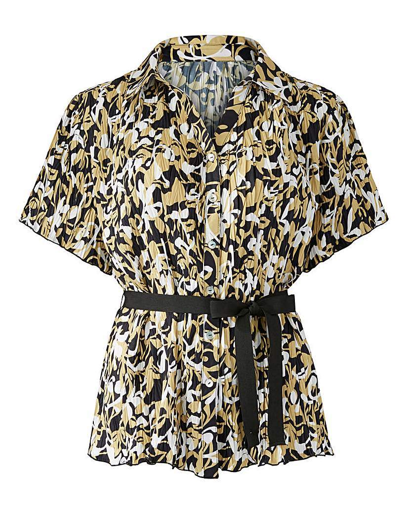 Print Crinkle Blouse With Belt - neckline: shirt collar/peter pan/zip with opening; style: shirt; waist detail: belted waist/tie at waist/drawstring; predominant colour: nude; secondary colour: black; occasions: casual; length: standard; fibres: polyester/polyamide - 100%; fit: body skimming; sleeve length: short sleeve; sleeve style: standard; pattern type: fabric; pattern: patterned/print; texture group: other - light to midweight; multicoloured: multicoloured; season: s/s 2016; wardrobe: highlight