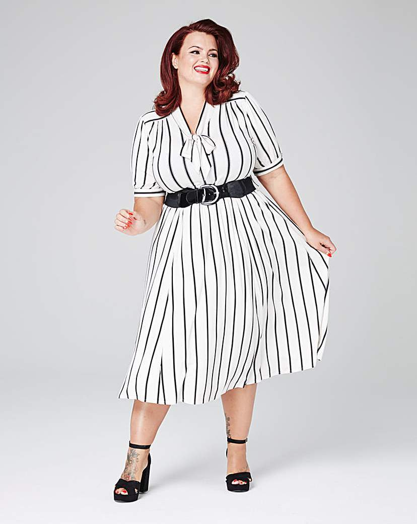 Stripe Dress - style: shift; length: calf length; pattern: vertical stripes; neckline: pussy bow; predominant colour: white; secondary colour: black; occasions: evening; fit: body skimming; fibres: viscose/rayon - stretch; sleeve length: short sleeve; sleeve style: standard; pattern type: fabric; texture group: other - light to midweight; multicoloured: multicoloured; season: s/s 2016; wardrobe: event