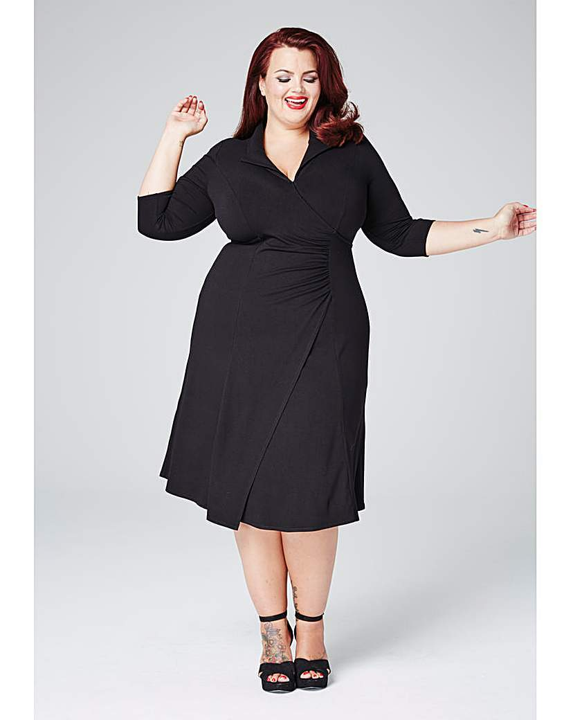 Plunge Neck Midi Dress - style: faux wrap/wrap; length: calf length; neckline: shirt collar/peter pan/zip with opening; pattern: plain; waist detail: belted waist/tie at waist/drawstring; predominant colour: black; occasions: evening; fit: body skimming; fibres: viscose/rayon - stretch; sleeve length: 3/4 length; sleeve style: standard; pattern type: knitted - other; texture group: jersey - stretchy/drapey; season: s/s 2016; wardrobe: event