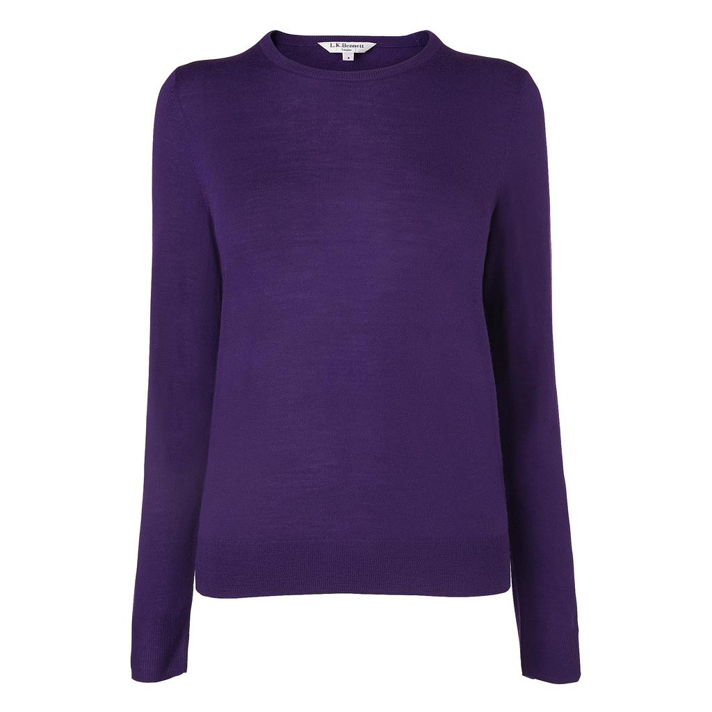 Bresto Purple Knitted Top Purple Hydrangea - pattern: plain; predominant colour: aubergine; occasions: casual; length: standard; style: top; fibres: wool - 100%; fit: body skimming; neckline: crew; sleeve length: long sleeve; sleeve style: standard; texture group: knits/crochet; pattern type: knitted - fine stitch; season: s/s 2016; wardrobe: highlight