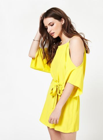 Womens Yellow Cold Shoulder Playsuit, Chartreuse - fit: loose; pattern: plain; waist detail: belted waist/tie at waist/drawstring; length: short shorts; predominant colour: yellow; occasions: casual; fibres: viscose/rayon - 100%; neckline: crew; shoulder detail: cut out shoulder; sleeve length: 3/4 length; sleeve style: standard; style: playsuit; pattern type: fabric; texture group: other - light to midweight; season: s/s 2016; wardrobe: highlight