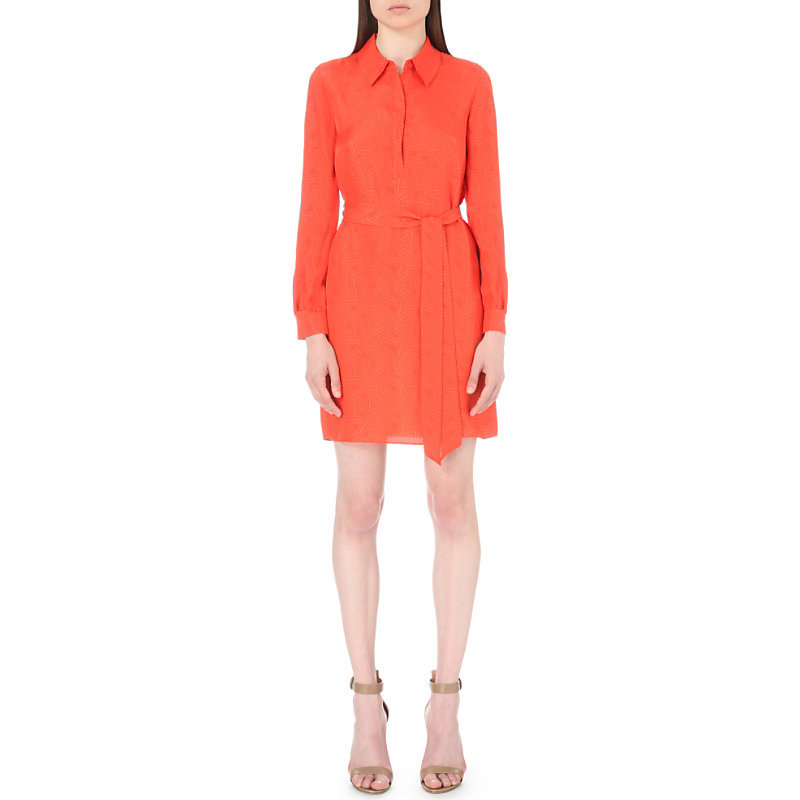 Seanna Silk Shirt Dress, Women's, Orange - style: shirt; length: mid thigh; neckline: shirt collar/peter pan/zip with opening; pattern: plain; waist detail: belted waist/tie at waist/drawstring; predominant colour: bright orange; occasions: evening; fit: body skimming; fibres: silk - 100%; sleeve length: long sleeve; sleeve style: standard; texture group: silky - light; pattern type: fabric; season: s/s 2016; wardrobe: event