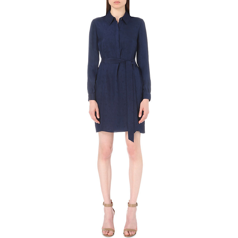 Seanna Silk Shirt Dress, Women's, Black - style: shirt; neckline: shirt collar/peter pan/zip with opening; pattern: plain; waist detail: belted waist/tie at waist/drawstring; predominant colour: black; occasions: evening; length: just above the knee; fit: body skimming; fibres: silk - 100%; sleeve length: long sleeve; sleeve style: standard; texture group: crepes; pattern type: fabric; season: s/s 2016