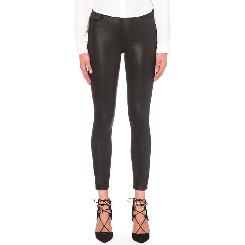 Margot Coated Skinny Mid Rise Jeans, Women's, Black Fog Luxe Coating - style: skinny leg; length: standard; pattern: plain; pocket detail: traditional 5 pocket; waist: mid/regular rise; predominant colour: black; occasions: casual, evening, creative work; fibres: cotton - stretch; texture group: waxed cotton; pattern type: fabric; season: s/s 2016; wardrobe: highlight