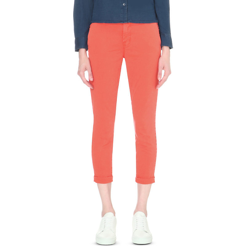 Josie Turn Up Mid Rise Jeans, Women's, Distressed Gernadine - style: skinny leg; pattern: plain; pocket detail: traditional 5 pocket; waist: mid/regular rise; predominant colour: coral; occasions: casual, creative work; length: calf length; fibres: cotton - stretch; texture group: denim; pattern type: fabric; season: s/s 2016; wardrobe: highlight