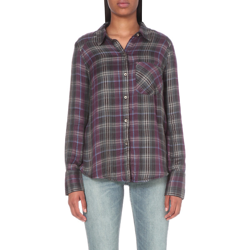 Joplin Flannel Shirt, Women's, Size: Xs, Black - neckline: shirt collar/peter pan/zip with opening; pattern: checked/gingham; style: shirt; predominant colour: purple; secondary colour: light grey; occasions: casual; length: standard; fibres: viscose/rayon - 100%; fit: body skimming; sleeve length: long sleeve; sleeve style: standard; bust detail: bulky details at bust; pattern type: fabric; texture group: woven light midweight; multicoloured: multicoloured; season: s/s 2016; wardrobe: highlight