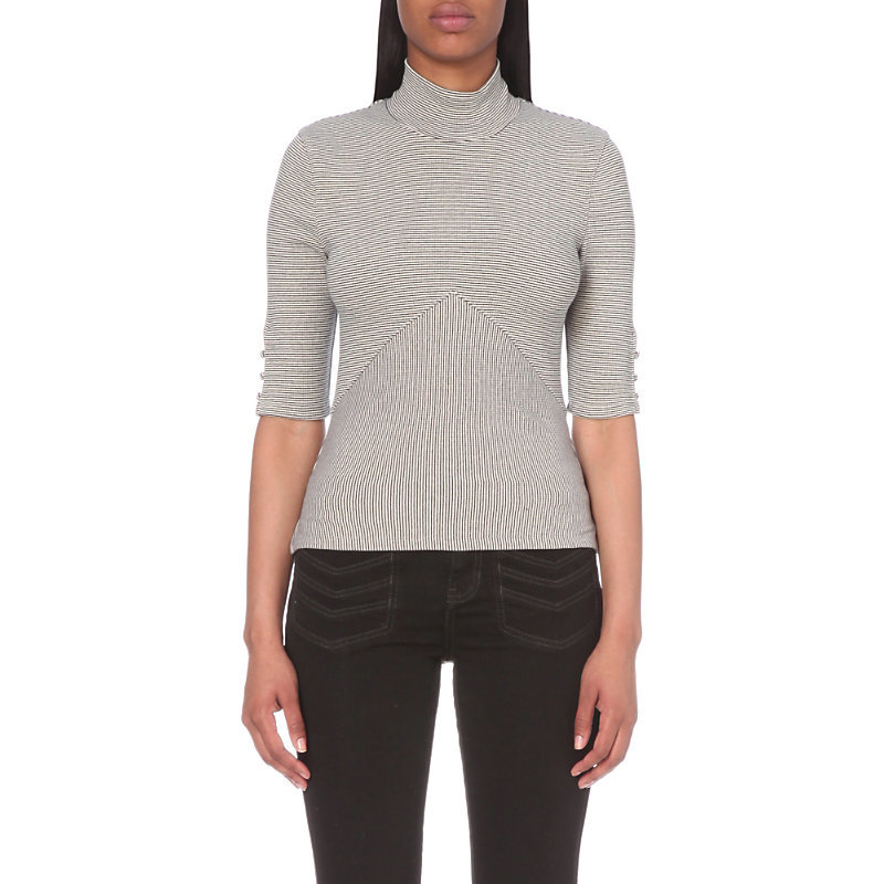 Say Goodbye Jersey Top, Women's, Size: Small, Ivory - pattern: plain; neckline: roll neck; predominant colour: light grey; occasions: casual, work, creative work; length: standard; style: top; fibres: polyester/polyamide - stretch; fit: body skimming; sleeve length: half sleeve; sleeve style: standard; pattern type: fabric; texture group: jersey - stretchy/drapey; season: s/s 2016; wardrobe: basic