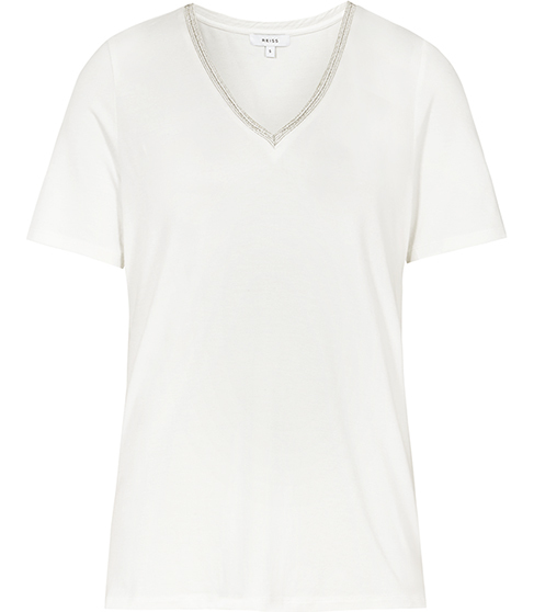 Flossy Embellished T Shirt - neckline: v-neck; pattern: plain; style: t-shirt; predominant colour: white; occasions: casual; length: standard; fibres: viscose/rayon - stretch; fit: body skimming; sleeve length: short sleeve; sleeve style: standard; pattern type: fabric; texture group: jersey - stretchy/drapey; season: s/s 2016; wardrobe: basic