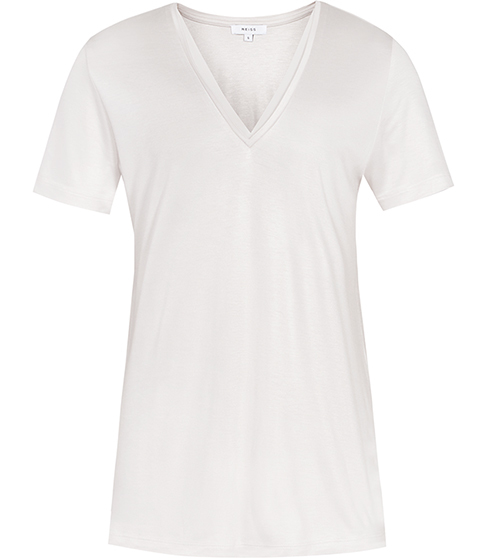 Leo Neckline Trim T Shirt - neckline: v-neck; pattern: plain; style: t-shirt; predominant colour: ivory/cream; occasions: casual; length: standard; fibres: viscose/rayon - 100%; fit: body skimming; sleeve length: short sleeve; sleeve style: standard; pattern type: fabric; texture group: jersey - stretchy/drapey; season: s/s 2016; wardrobe: basic