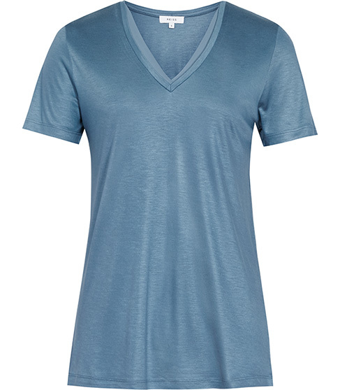 Leo Neckline Trim T Shirt - neckline: v-neck; pattern: plain; style: t-shirt; predominant colour: denim; occasions: casual; length: standard; fibres: viscose/rayon - 100%; fit: body skimming; sleeve length: short sleeve; sleeve style: standard; texture group: jersey - clingy; pattern type: fabric; season: s/s 2016; wardrobe: highlight